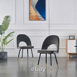 Set of 2 Dining Chairs Velvet Upholstered Seat with Black Metal Legs Dining Room