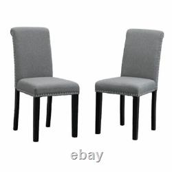 Set of 2 Dining Room Gray Dining Chairs High Back Fabric Upholstered with Rivets