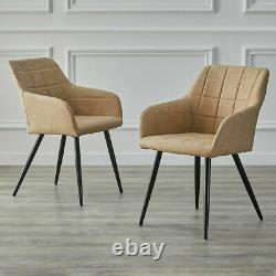 Set of 2 Faux Leather Armchair PU Upholstered Seat Metal Legs Tub Dining Chairs