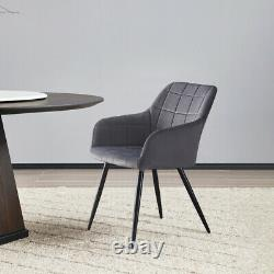 Set of 2 Faux Leather/Velvet Dining Chairs Upholstered Seat Home&Restaurant Grey