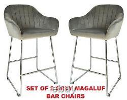 Set of 2 GREY Velvet High Bar Chairs Stool Kitchen/Dining/Breakfast Bar Chairs