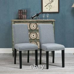 Set of 2 Grey Dining Chairs Upholstered Fabric with Rivets Wood Legs Diningroom