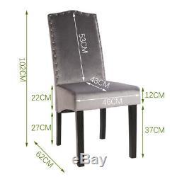Set of 2 Grey Plush Velvet Dining Chairs Studded Knocker Back Upholstered Seat