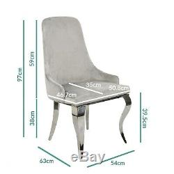 Set of 2 Grey Velvet Dining Chairs with Silver Legs Angelica ANE002