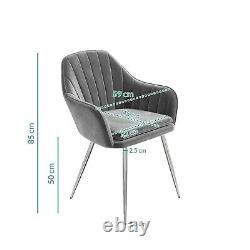 Set of 2 Grey Velvet Dining Tub Chairs with Chrome Legs Logan LOG005