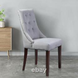 Set of 2 Kitchen Dining Chairs Velvet Tufted High Backrest Upholstered Wood Leg