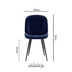 Set of 2 Navy Blue Velvet Dining Chairs with Black Legs Jenna JNN004N