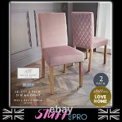 Set of 2 Pink Blush Plush Velvet Dining Chairs Quilted Back Upholstered Seat