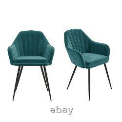 Set of 2 Teal Blue Velvet Dining Tub Chairs with Black Legs Logan LOG015
