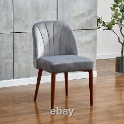 Set of 2 Velvet Dining Chairs Dinning Room Metal Leg Accent Side Chairs Grey