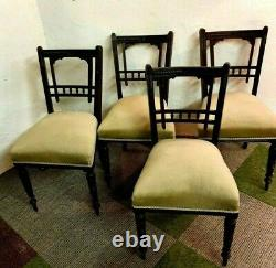 Set of 4 Antique Victorian Ebonised Mahogany Upholstered Dining Chairs