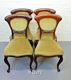 Set of 4 Antique Victorian Mahogany & Upholstered Country House Dining Chairs