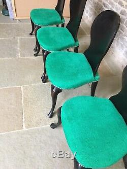 Set of 4 Conran dining chairs with Designer Guild upholstered Seats, balloon