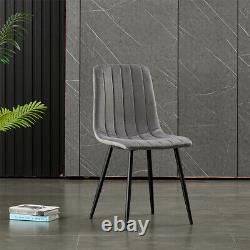 Set of 4 Dining Chairs Fabric Padded Seat Metal Legs Office Kitchen Lounge Chair