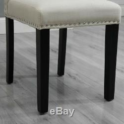 Set of 4 Dining Room Beige Dining Chairs High Back Fabric Upholstered with Rivets
