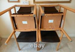 Set of 4 Ercol Posture model 775A upholstered dining armchairs