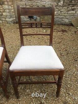 Set of 4 Georgian Dining Chairs with Recently Upholstered Drop In Seats
