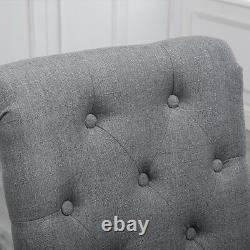 Set of 4 Grey Dining Chairs Fabric Button Tufted Padded Seat Wood Leg Diningroom
