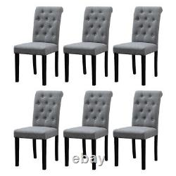 Set of 4 Grey Dining Chairs Fabric Tufted Padded Seat Wood Legs Dining Room Home