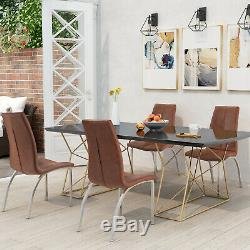 Set of 4 Leather Dining Chairs Premium Quality Faux Leather upholstered Chair