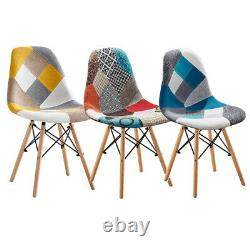 Set of 4 Patchwork Office/Dining Chairs Side Chair Dining Living Room Reception