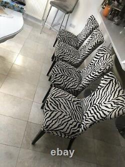 Set of 4 Upholstered Fabric Dining Chairs (black/ Cream Zebra Fabric)