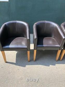 Set of 4 Upholstered Tub Dining Chairs (Bar / Restaurant / Cafe / Pub Chairs)