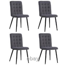 Set of 4 Upholstered Velvet Dining Chairs High Back Seat Chair with Black Legs