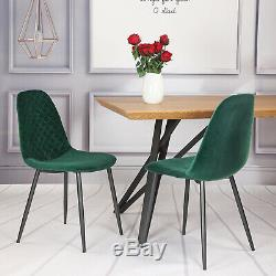 Set of 4 Velvet Dining Chairs Fabric Upholstered seat with Metal Leg Living Room