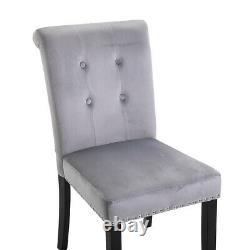 Set of 4 Velvet Dining Chairs Knocker Back Office Chair Upholstered Kitchen Grey