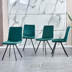 Set of 4 Velvet Dining Chairs Lounge Metal Leg Padded Dining Room Kitchen Office