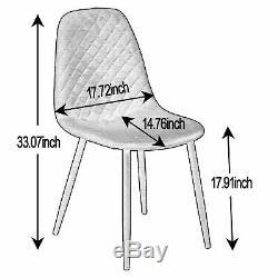 Set of 4 Velvet Dining Chairs Upholstered Seat Black Leg Dressing Lounge Kitchen