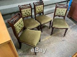 Set of 4x antique Edwardian upholstered dining chairs with stunning carved frame