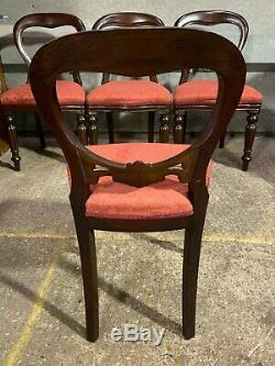 Set of 4x antique Victorian style balloon back dining chairs, upholstered seats