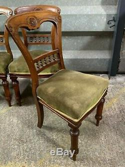 Set of 4x antique Victorian upholstered dining chairs balloon spade spoon backs