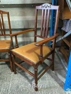 Set of 4x antique arts & crafts style solid oak upholstered dining chairs carver