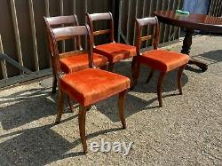 Set of 4x antique regency walnut upholstered dining chairs sabre legs Delivery