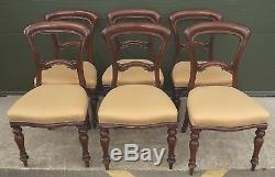Set of 6 Antique Victorian Mahogany Balloon-Back Dining Chairs Upholstered Seats