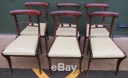 Set of 6 Antique William IV Mahogany-Framed Dining Chairs with Upholstered Seats
