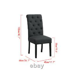 Set of 6 Dark Grey Button Tufted High Back Dining Chairs Fabric Padded Kitchen