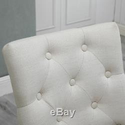 Set of 6 Dining Accent Chair Curved Button Tufted Fabric Upholstered Scoop