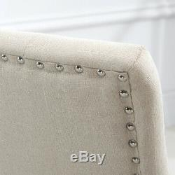 Set of 6 Dining Chairs Curved Shape Button Tufted Fabric Upholstered Home Lounge