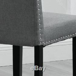 Set of 6 Dining Room Gray Dining Chairs High Back Fabric Upholstered with Rivets