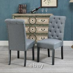 Set of 6 Grey Dining Chair Fabric Button Tufted Padded Seat Wood Leg Diningroom