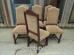 Set of 6 Six Quality Solid Oak Dining Chairs by Jaycee Newly Upholstered
