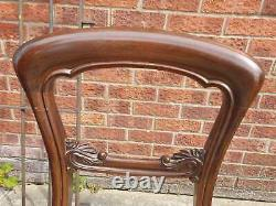 Set of 6 Vintage Balloon Back Victorian Dining Room Upholstered Chairs