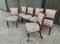 Set of 6x Antique Victorian oak upholstered dining chairs Delivery Available