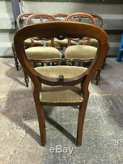Set of 6x antique Victorian balloon / spoon back upholstered dining chairs Six