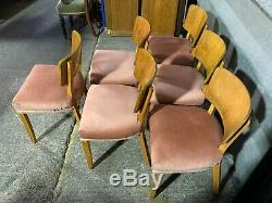 Set of 6x vintage Maple Quality dining chairs upholstered art deco 1930's 40's