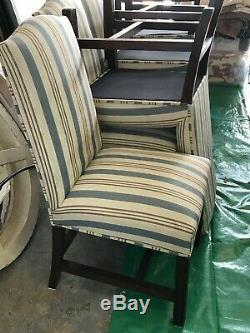 Set of 8 Blue Grey and White Striped Upholstered Dining Chairs